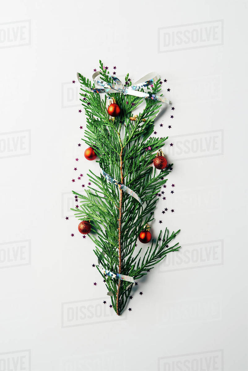 Christmas Tree Top View.Top View Of Green Pine Branch Decorated As Festive Christmas Tree On White Background Stock Photo
