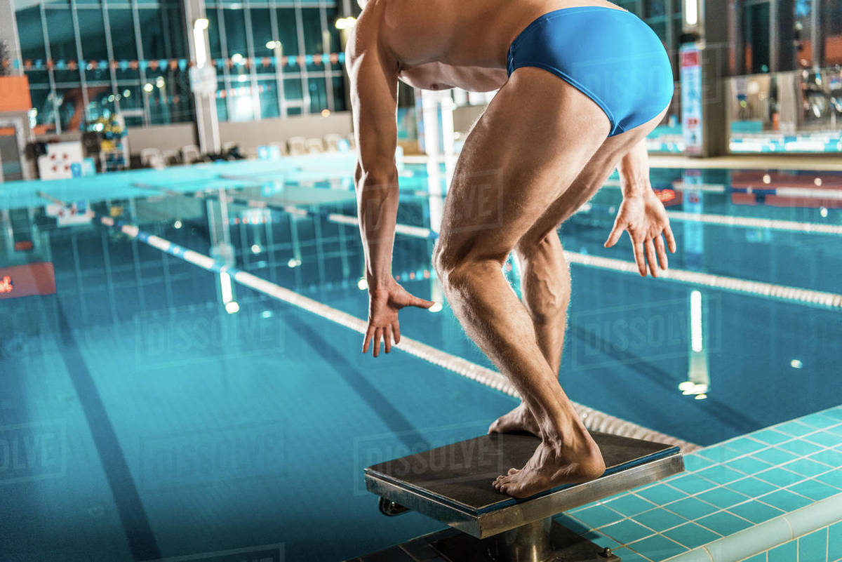 Swimmer standing on diving board ready to jump into competition swimming  pool stock photo