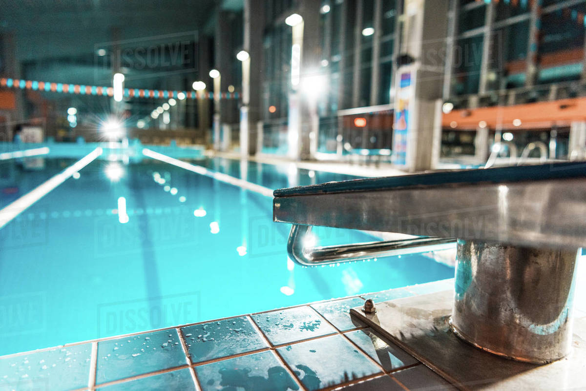 Diving board at competition swimming pool stock photo