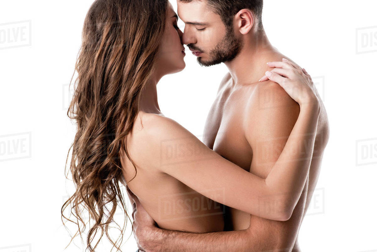 Side View Of Sensual Half Naked Couple Kissing Isolated On White