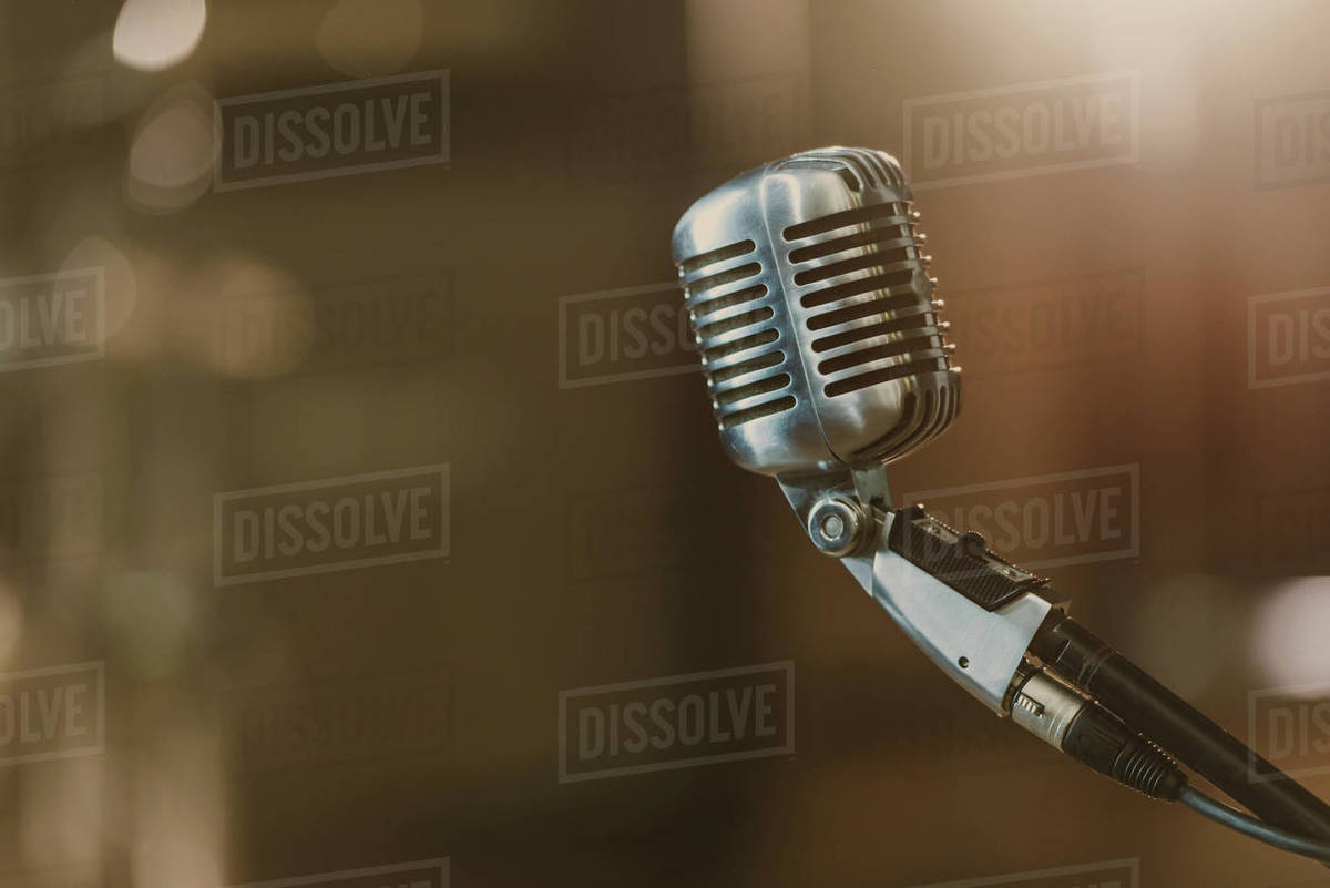 close,up shot of vintage microphone on blurred background D2115_254_039
