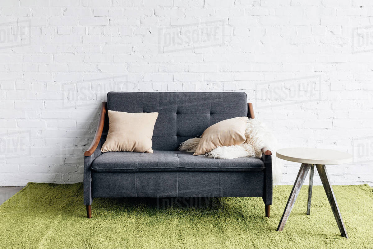 Small Couch In Modern Living Room With White Brick Wall D2115272189