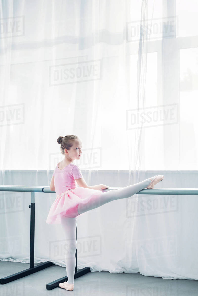 more photos 3a8b3 f22d0 Back view of little ballerina in pink tutu stretching in ballet school  stock photo