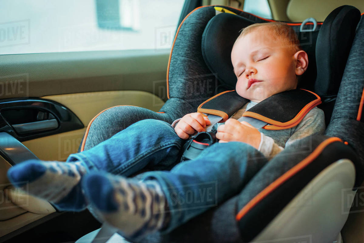 Sleeping In Car >> Cute Little Baby Sleeping In Child Safety Seat In Car Stock Photo