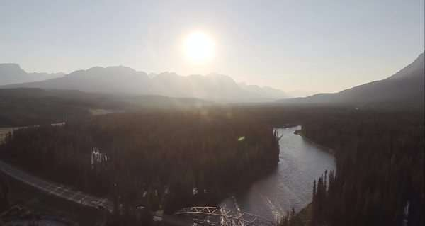 Aerial extreme wide shot of Bow River, Alberta, Canada Royalty-free stock video