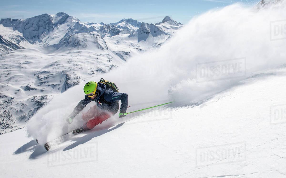 Man powder skiing, Gastein, Salzburg, Austria Royalty-free stock photo