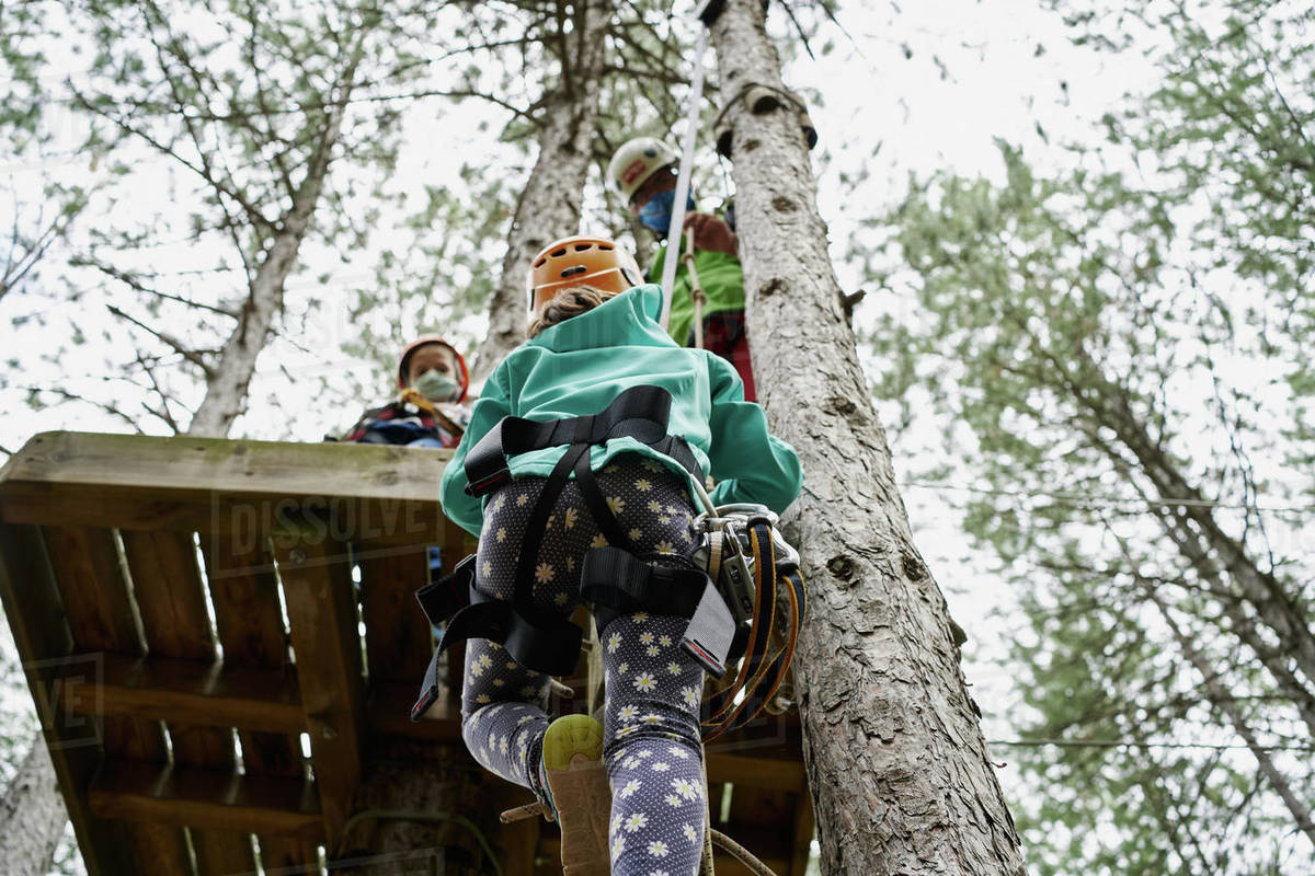 From below girl with safety harness climbing towards platform with sister and father in adventure park in forest Royalty-free stock photo