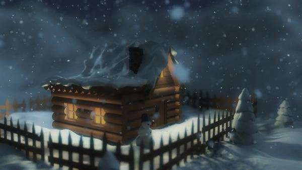 3D close-up to the house in winter environment. Royalty-free stock video