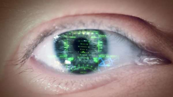 Eyeball with head-up display on the iris, loop Royalty-free stock video