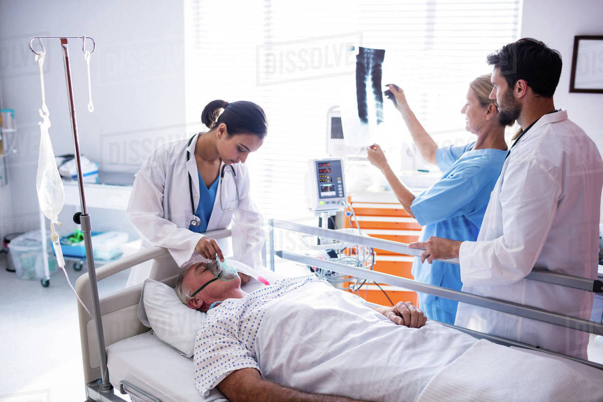 Image 2789251: Senior patient receiving oxygen mask from