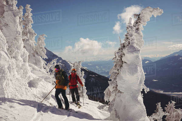 Two skiers skiing in snowy alps during winter Royalty-free stock photo