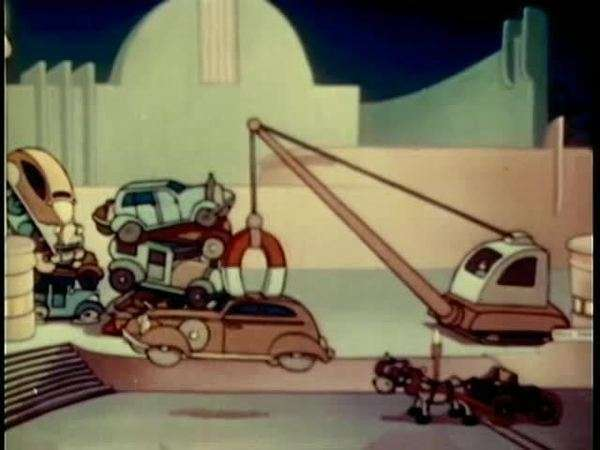 Cartoon of machine with huge magnet picking up cars in junk yard Royalty-free stock video