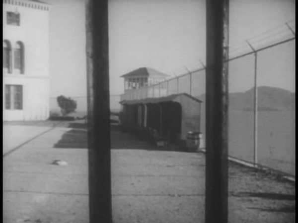 View of prison yard from behind bars Royalty-free stock video