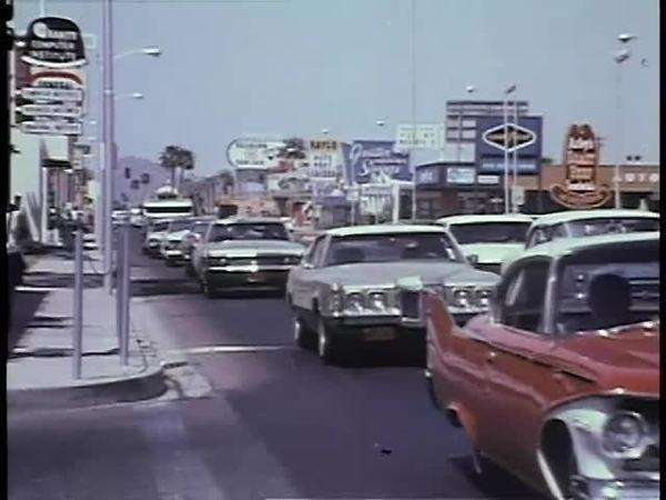Cars driving in Las Vegas in the 1970s Royalty-free stock video