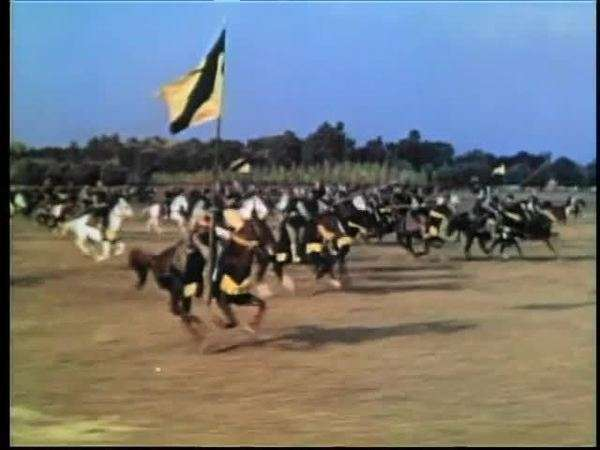Wide shot medieval soldiers on horseback galloping into battle Royalty-free stock video