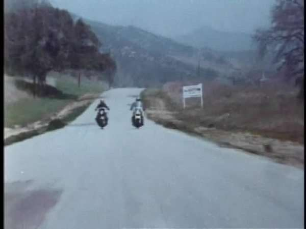 High speed motorcycle chase on country road Royalty-free stock video