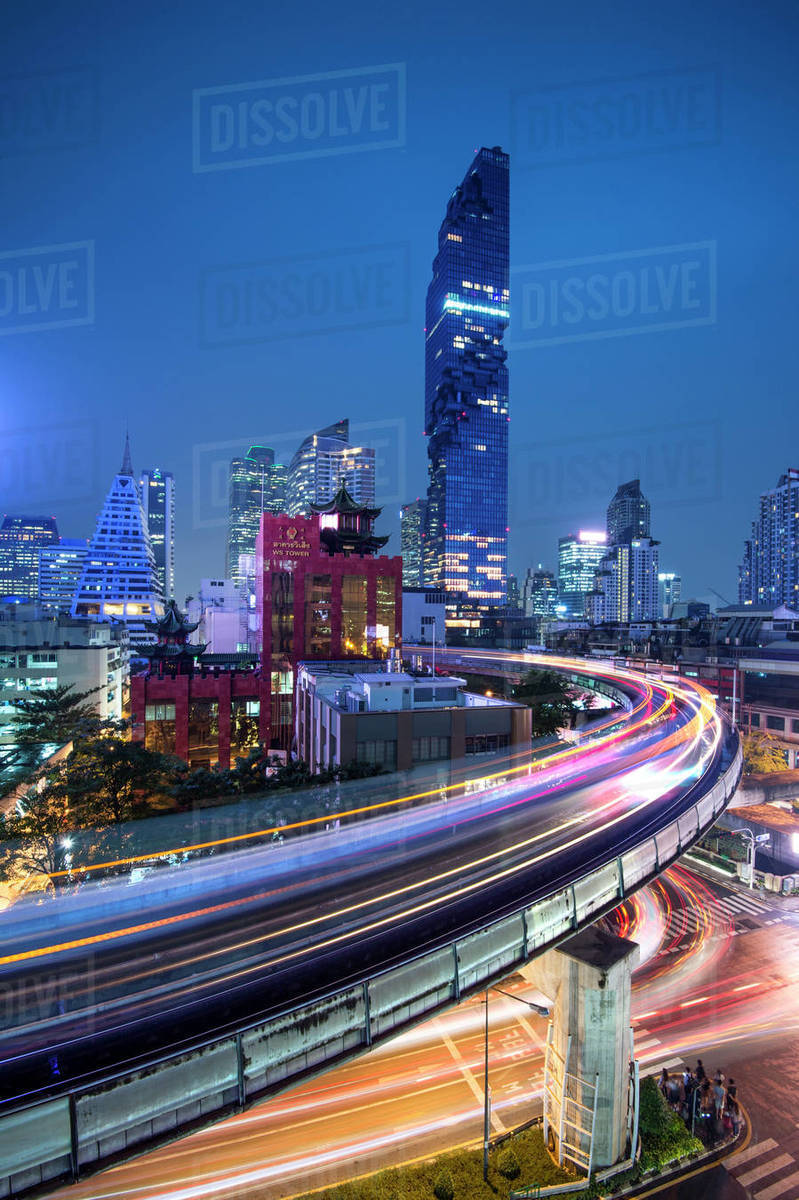 BTS skytrain and Mahanakhon building in background at Silom Road, Bangkok  business district, Bangkok Thailand, Southeast Asia, Asia stock photo