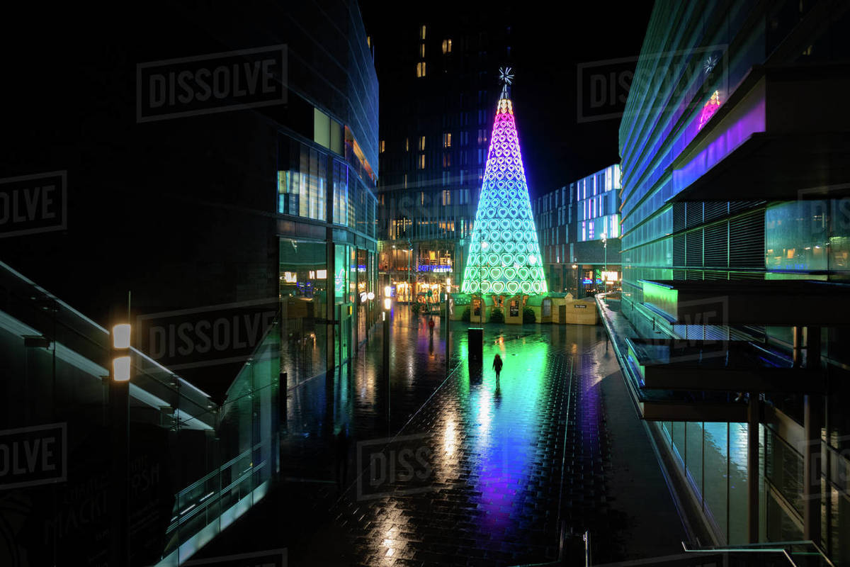 England Christmas Lights.Liverpool Christmas Lights In City At Night England United Kingdom Europe Stock Photo