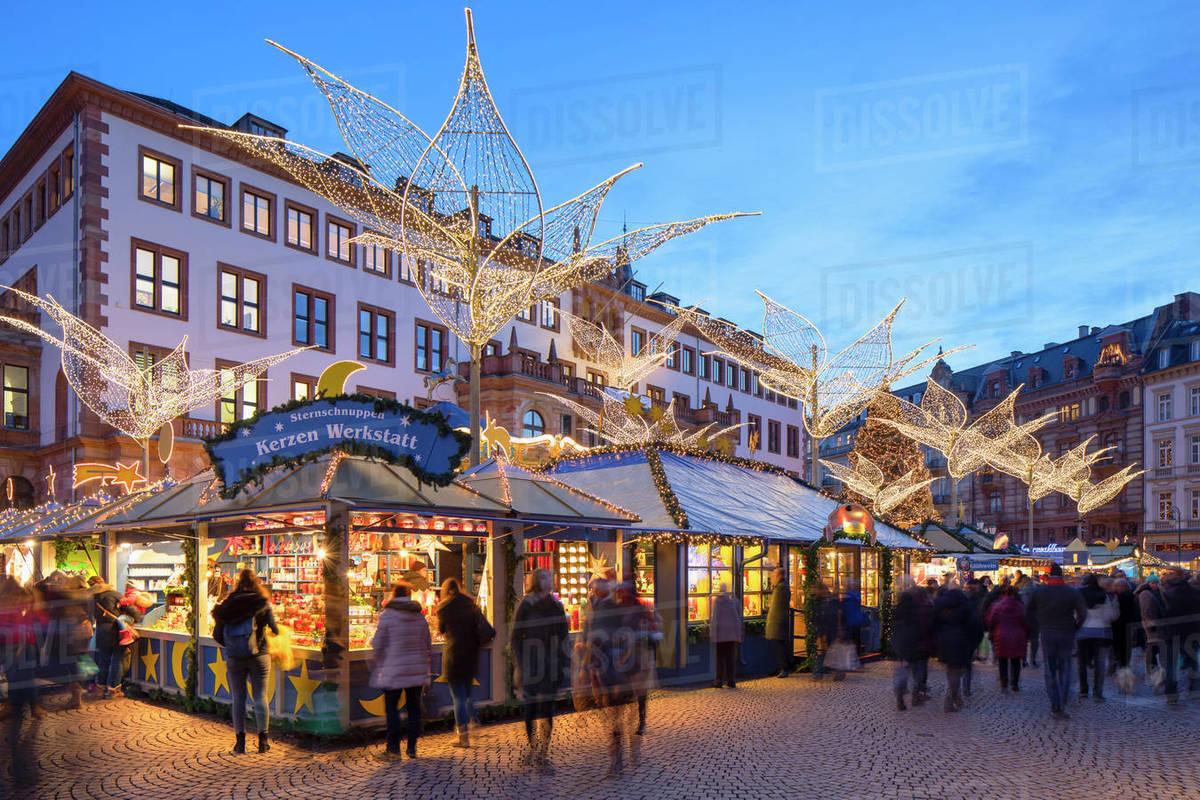 Christmas Market at dusk, Wiesbaden, Hesse, Germany, Europe Royalty-free stock photo