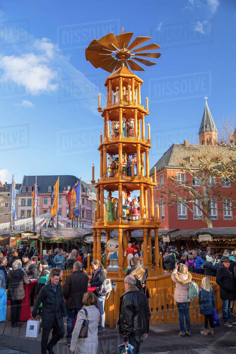 Christmas pyramid at Christmas Market, Mainz, Rhineland-Palatinate, Germany, Europe Royalty-free stock photo