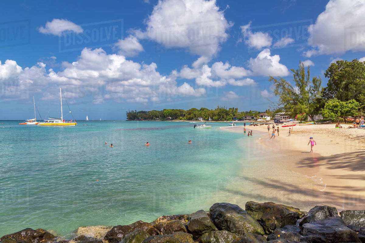 View of beach and Caribbean Sea at Holetown, Barbados, West Indies, Caribbean, Central America Royalty-free stock photo