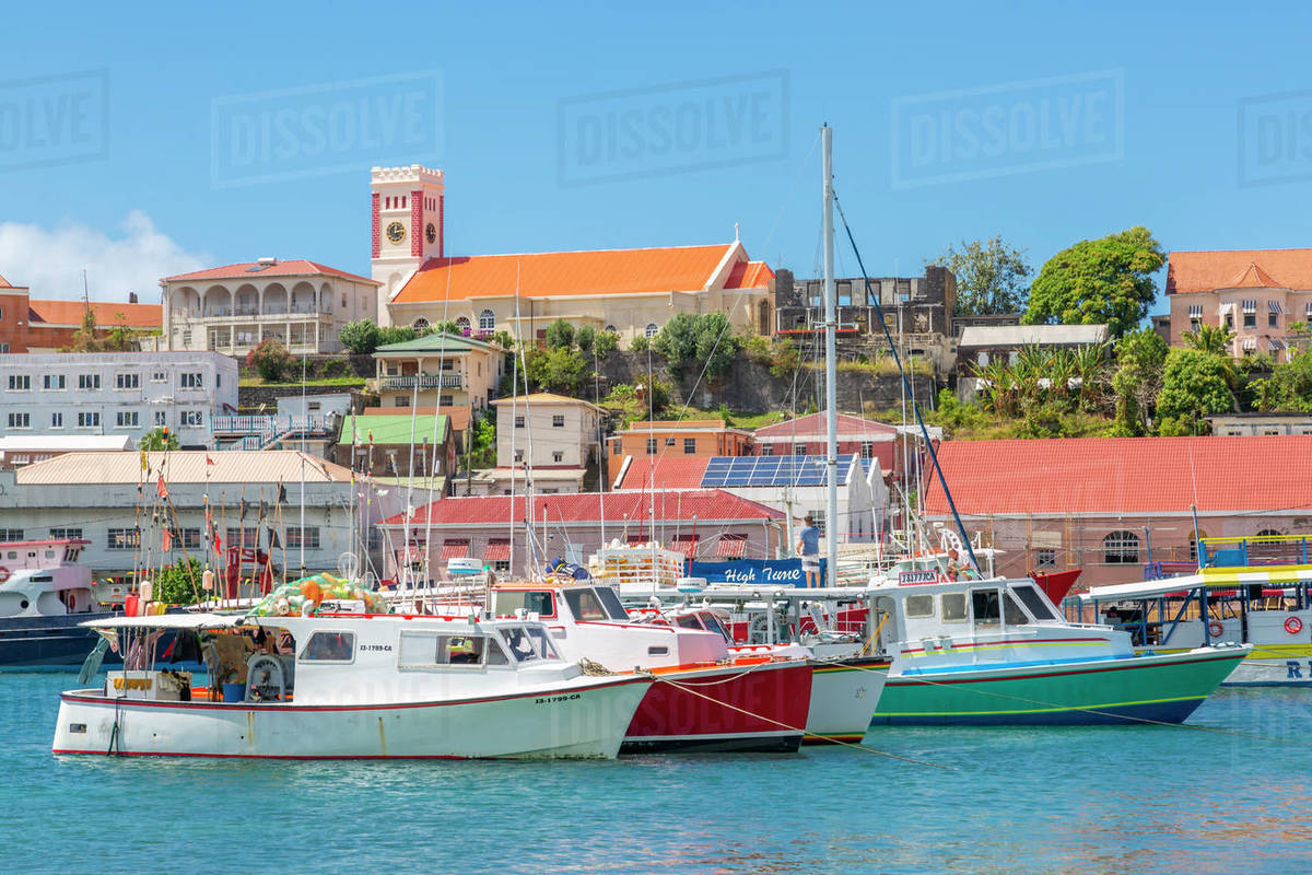 View over the Carenage to St. Georges Parish Church, St. George's, Grenada, Windward Islands, West Indies, Caribbean, Central America Royalty-free stock photo