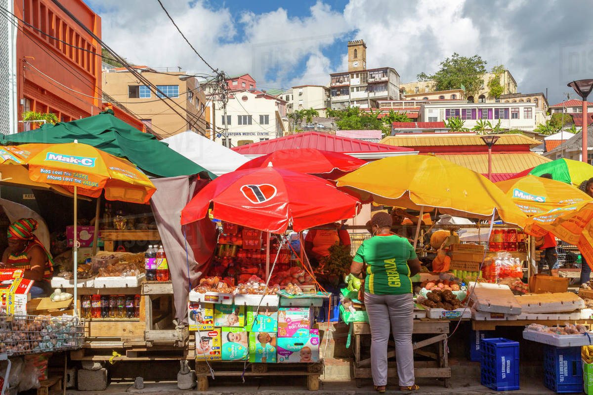View of colourful market in St. George's, Grenada, Windward Islands, West Indies, Caribbean, Central America Royalty-free stock photo