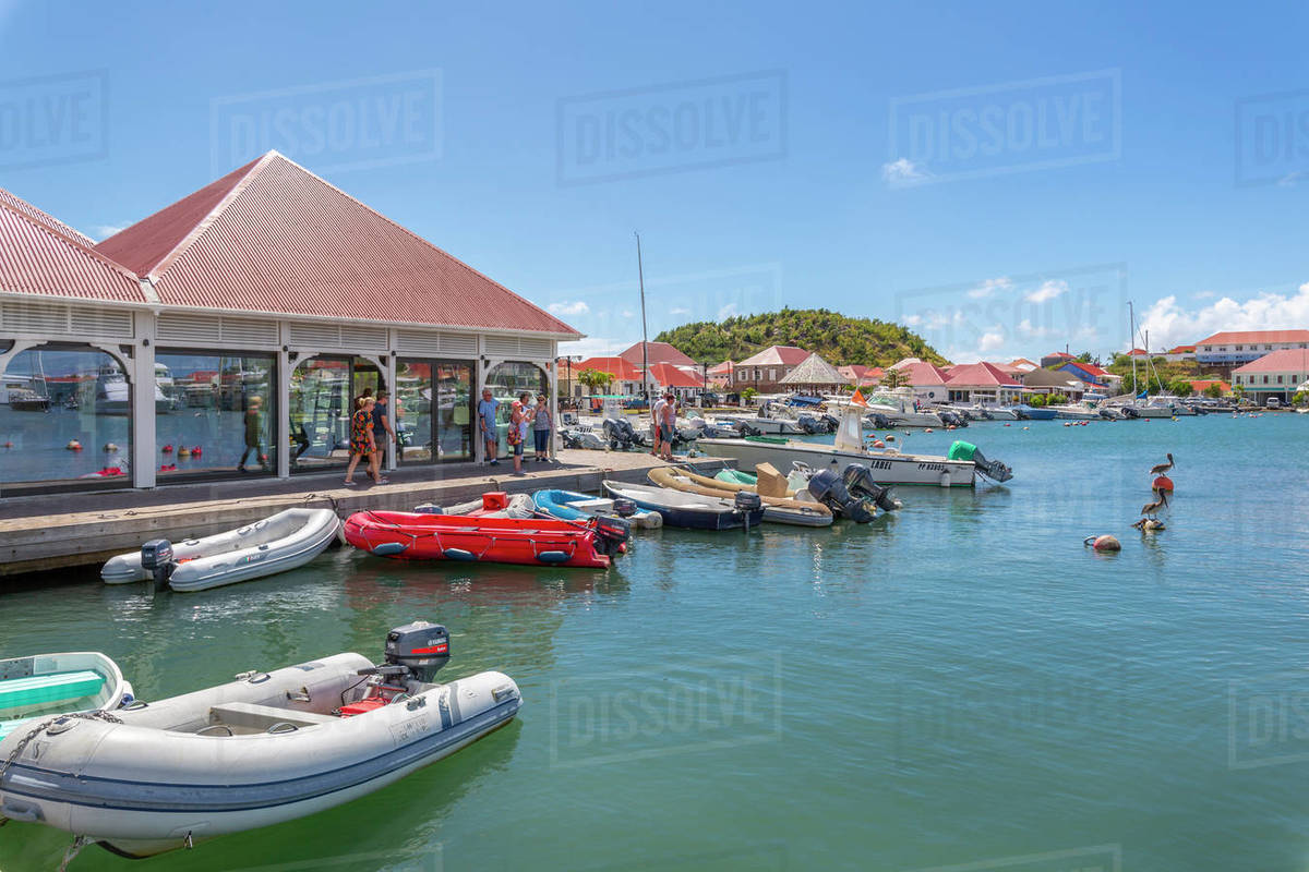 View of the harbour, Gustavia, St. Barthelemy (St. Barts) (St. Barth), West Indies, Caribbean, Central America Royalty-free stock photo