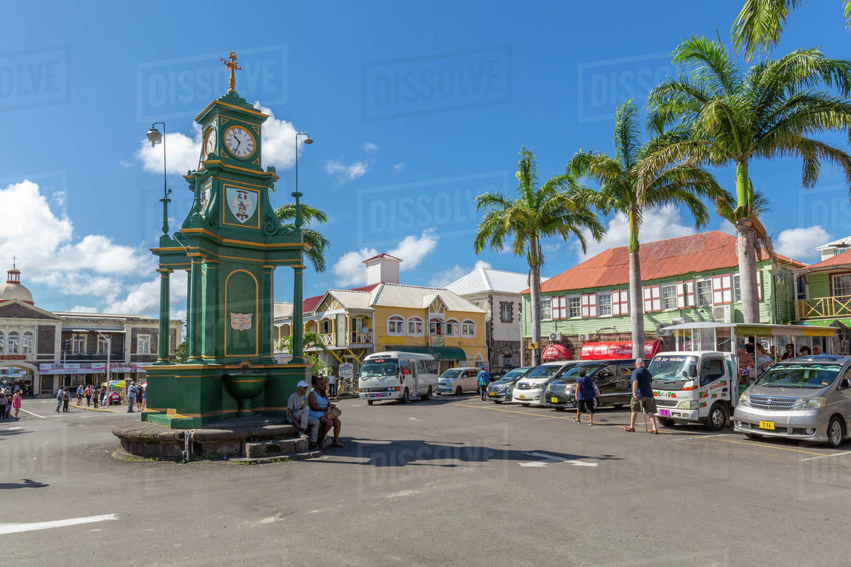 View of The Circus and Memorial Clock, Basseterre, St. Kitts and Nevis, West Indies, Caribbean, Central America Royalty-free stock photo