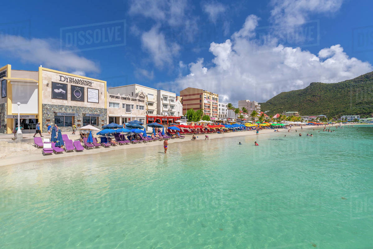 View of beach and turquoise sea at Philipsburg, St. Maarten, Leeward Islands, West Indies, Caribbean, Central America Royalty-free stock photo