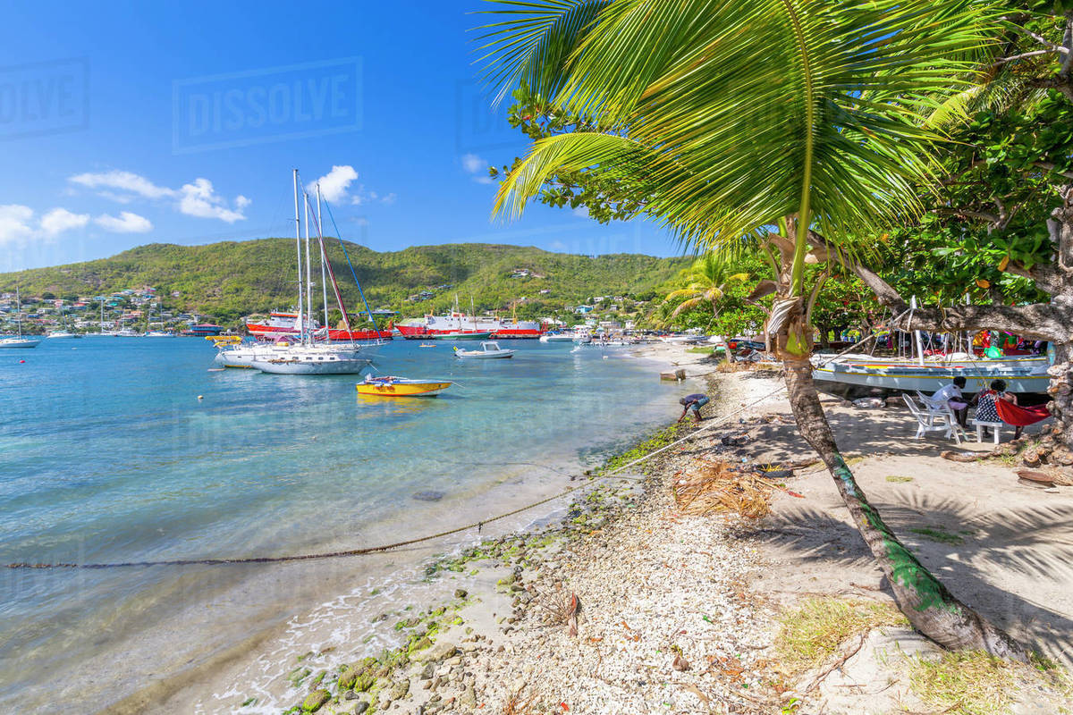 Sailing boats anchoring in Port Elizabeth, Admiralty Bay, Bequia, The Grenadines, St. Vincent and the Grenadines, Windward Islands, West Indies, Caribbean, Central America Royalty-free stock photo