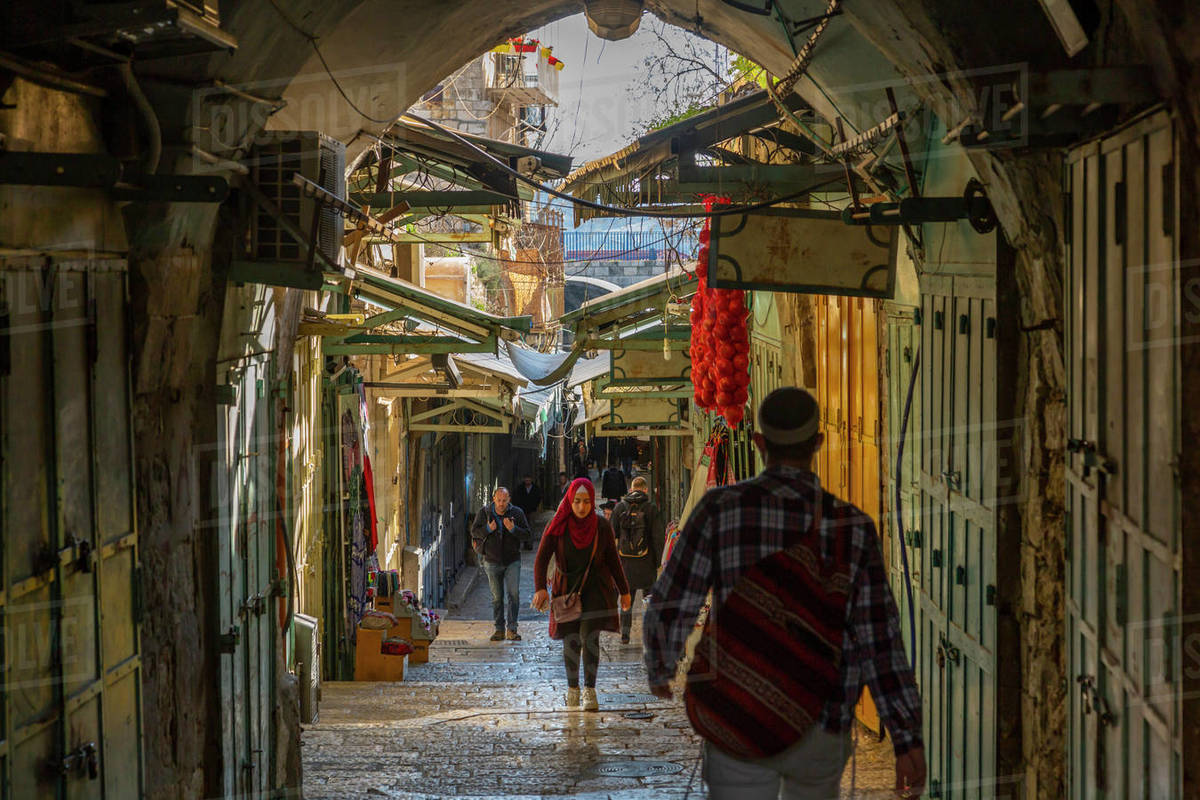 View of street in Old City, Old City, UNESCO World Heritage Site, Jerusalem, Israel, Middle East Royalty-free stock photo