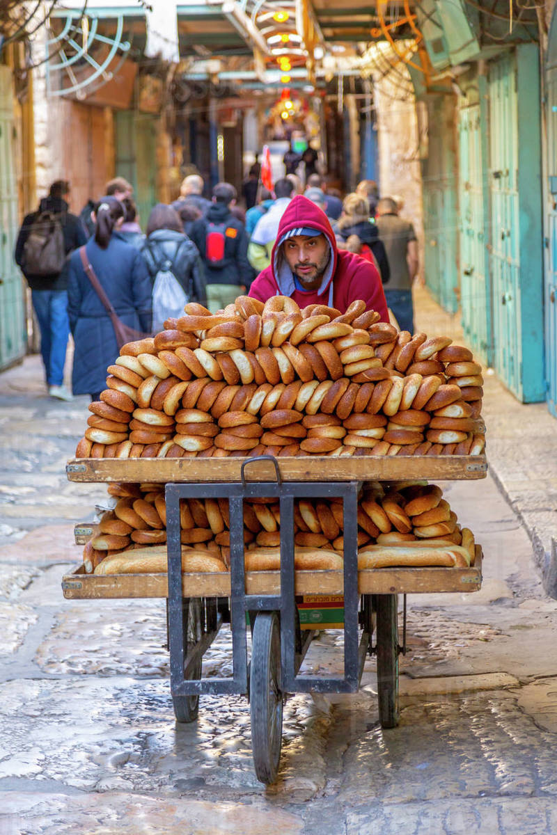 View of bread man in Old City, Old City, UNESCO World Heritage Site, Jerusalem, Israel, Middle East Royalty-free stock photo