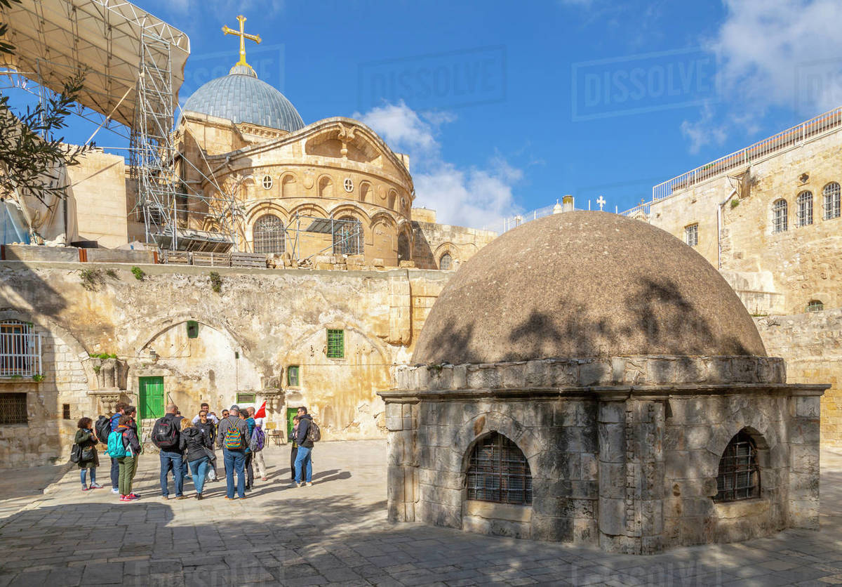 View of rooftop of Church of the Holy Sepulchre in Old City, Old City, UNESCO World Heritage Site, Jerusalem, Israel, Middle East Royalty-free stock photo