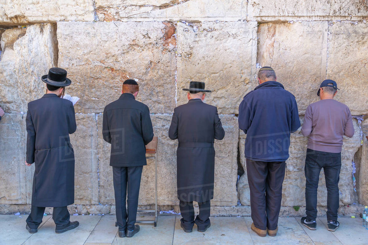 View of worshippers at the Western Wall in Old City, Old City, UNESCO World Heritage Site, Jerusalem, Israel, Middle East Royalty-free stock photo