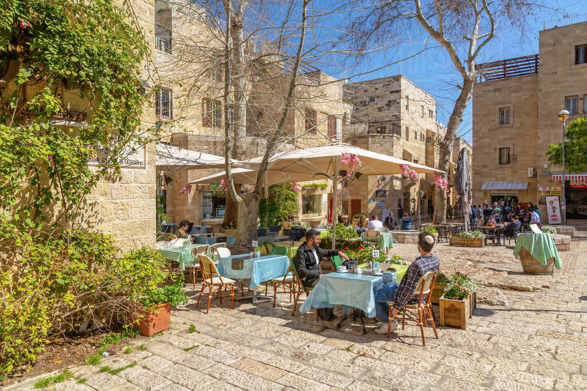 Holly Cafe near Hurva Synagogue in Old City, Old City, UNESCO World Heritage Site, Jerusalem, Israel, Middle East Royalty-free stock photo