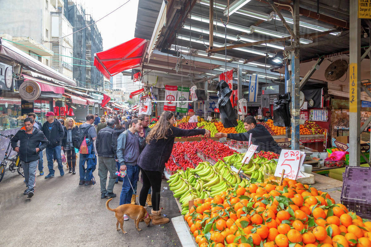 View of fruit stall in Had veHalak Market on Ha Carmel Street, Tel Aviv, Israel, Middle East Royalty-free stock photo