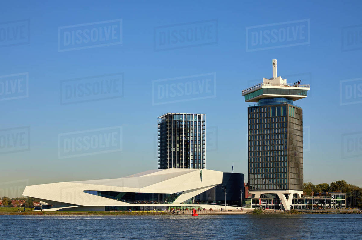 Eye Film Museum and A'dam tower in Amsterdam Noord (North), Amsterdam, North Holland, The Netherlands, Europe Royalty-free stock photo