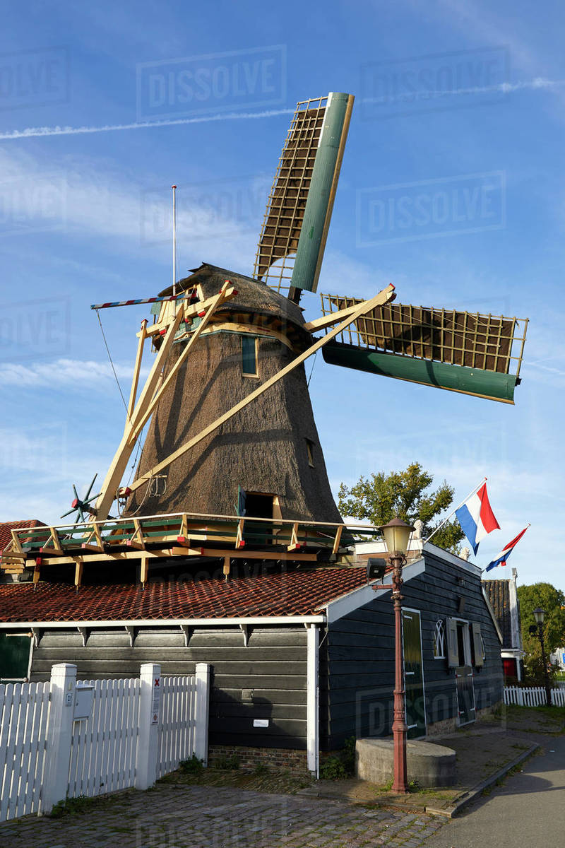 The old windmill Krijtmolen d'Admiraal dating from 1792 in Amsterdam Noord, Amsterdam, North Holland, The Netherlands, Europe Royalty-free stock photo