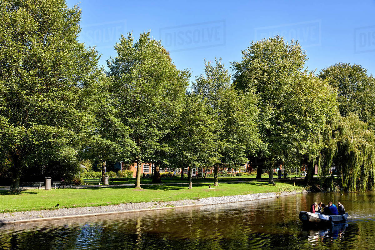 Westerpark and Haarlemmervaart, the canal between Amsterdam and Haarlem, Amsterdam, North Holland, The Netherlands, Europe Royalty-free stock photo