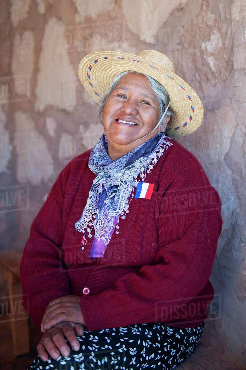 Old woman, San Pedro de Atacama, Chile, South America Royalty-free stock photo