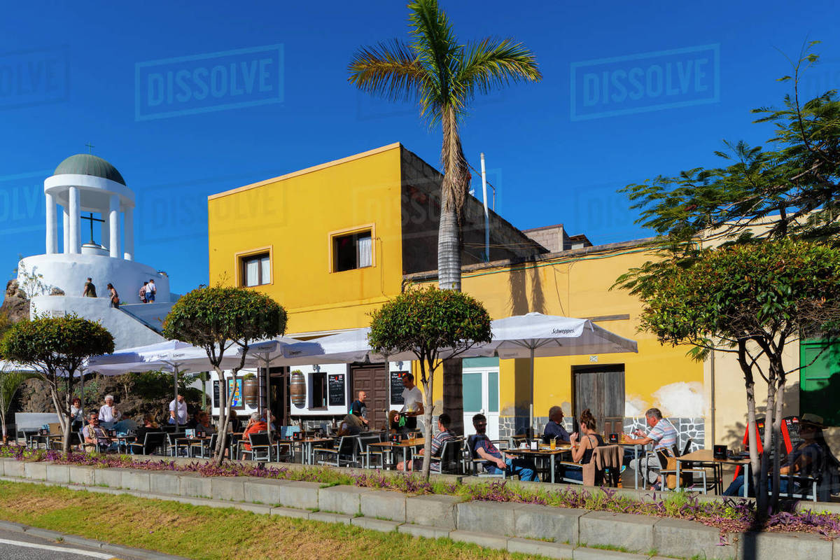 El Penon del Fraile and Cafe, Old Town, Puerto de la Cruz, Tenerife, Canary Islands, Spain, Atlantic Ocean, Europe Royalty-free stock photo