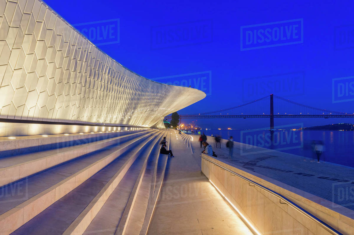 MAAT, Museum of Art Architecture and Technology at night, Belem district, Lisbon, Portugal, Europe Royalty-free stock photo