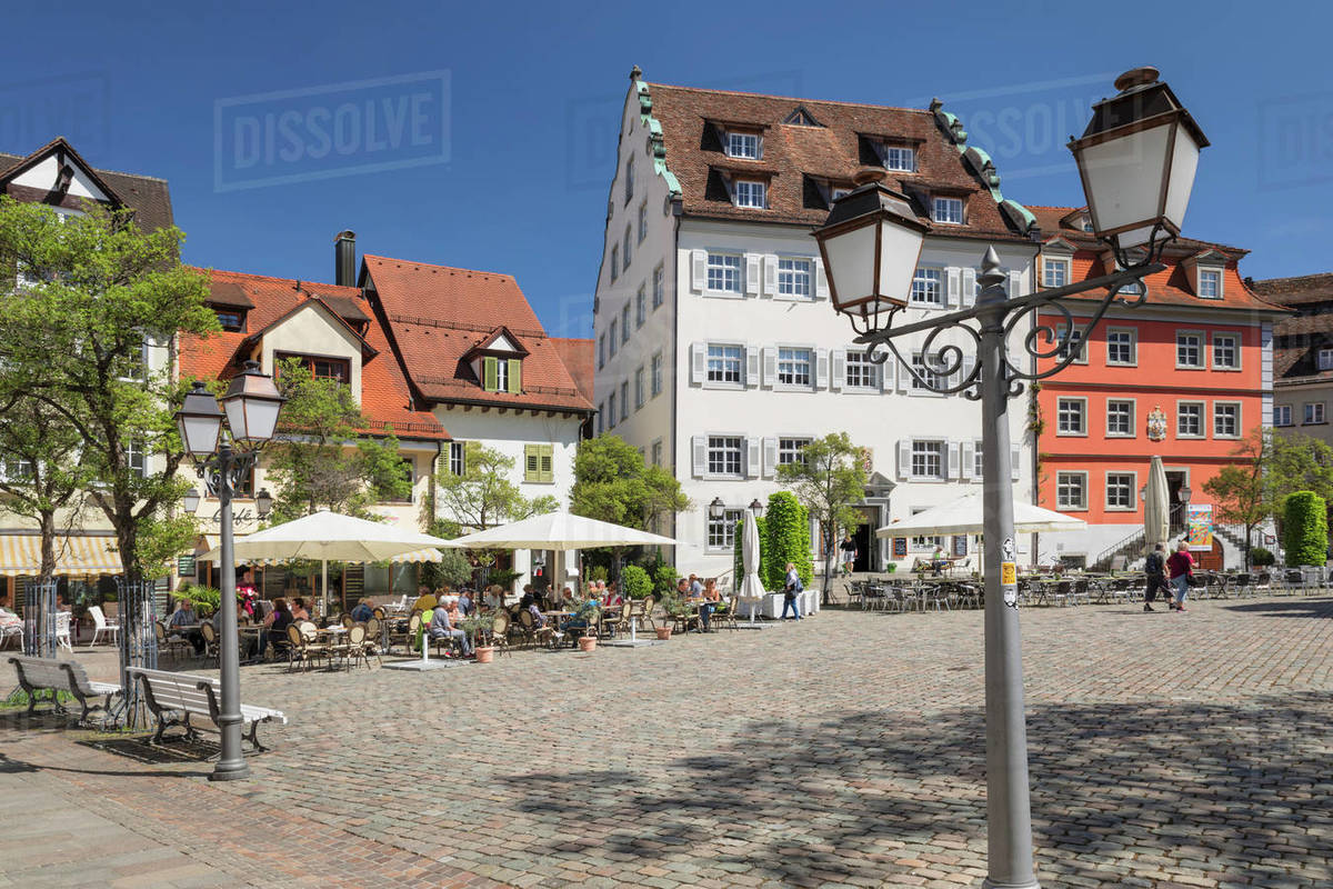 Street Cafe at Schlossplatz Square, Meersburg, Lake Constance, Baden-Wurttemberg, Germany, Europe Royalty-free stock photo