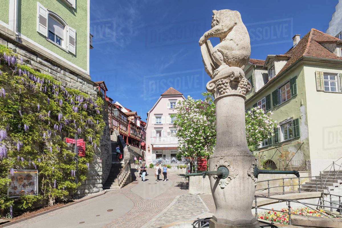 Fountain in the old town, Meersburg, Lake Constance, Baden-Wurttemberg, Germany, Europe Royalty-free stock photo