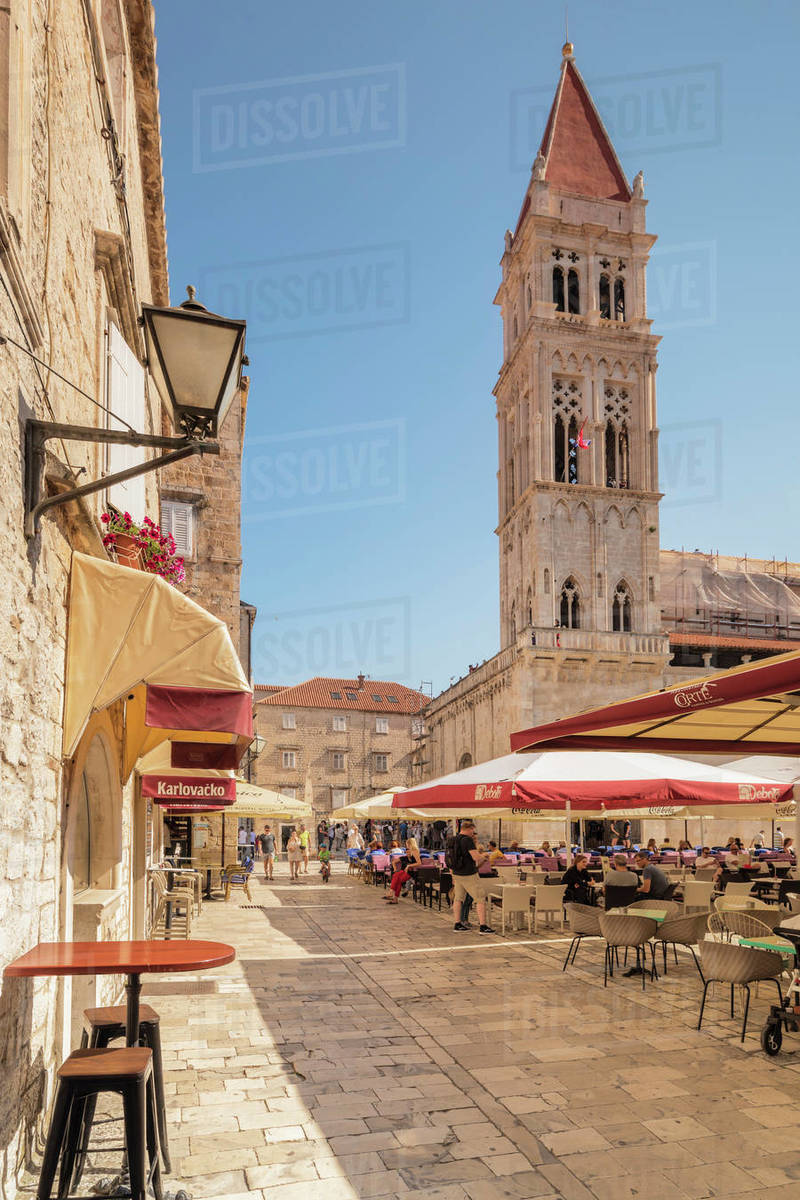 Restaurants and Cafes at Main Square, St. Laurentius Cathedral, Trogir, UNESCO World Heritage Site, Dalmatia, Croatia, Europe Royalty-free stock photo