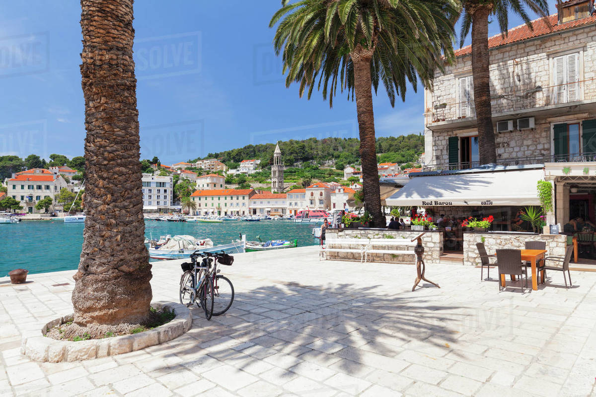 Restaurant on the promenade, Hvar, Hvar Island, Dalmatia, Croatia, Europe Royalty-free stock photo