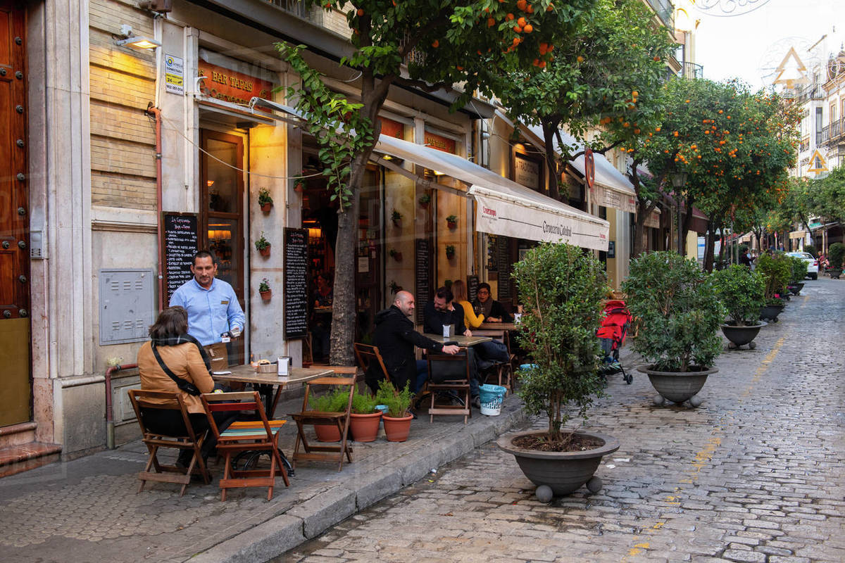 Cobbled streets of Seville, Andalusia, Spain, Europe Royalty-free stock photo