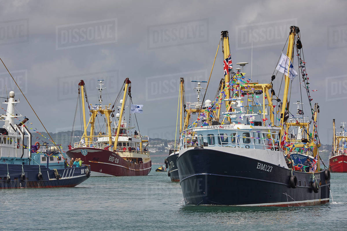 Trawlers in the annual trawler race, off Brixham, in Torbay, Devon, England, United Kingdom, Europe Royalty-free stock photo