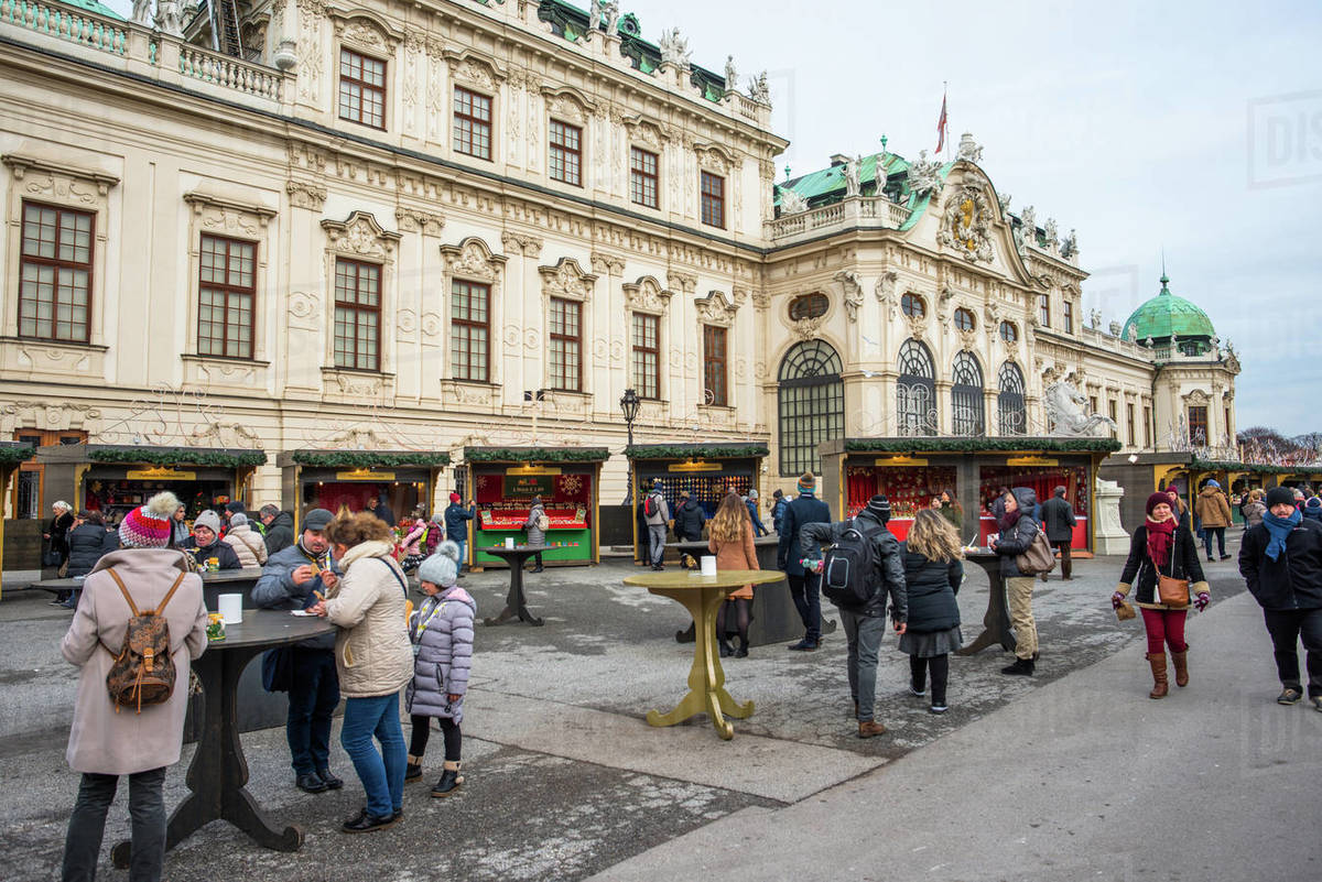 Christmas Market at Belvedere Palace, Vienna, Austria, Europe Royalty-free stock photo